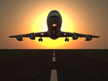 Airplane. Taking of at sunrise - 3d render Stock Images