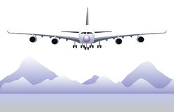 Airplane. View of airplane landing with mountain background Royalty Free Stock Photos