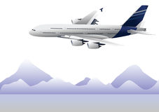 Airplane. View of airplane flying with mountain background Royalty Free Stock Photo