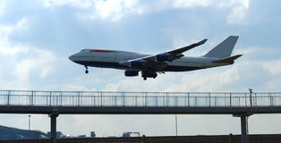 Airplane. Landing at Heathrow Airport, London Stock Photos