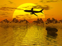 Airplane. Silouette over sunset background Royalty Free Stock Photography