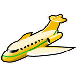 Airplane. Yellow airplane over white, illustration Stock Photography