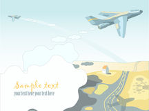 Airplane. Hand drowns vector illustration with airplane Stock Photography
