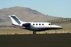 Airplane. An airplane prepares to take off on a strip in Nevada, USA Royalty Free Stock Photos