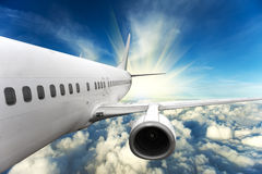 Airplane. Big airplane in the sky Royalty Free Stock Photography