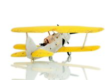 Airplane. Retro airplane on white background stock photography
