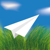 Airplane. Vector origami white airplane flying vector illustration