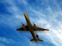 Airplane. Blurry airplane Stock Photography