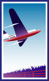 Airplane. Illustration of an airplane departing from an airport royalty free illustration
