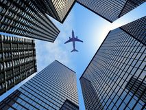 Airplane. Buildings and airplane, sky and building, tower and airplane
