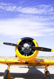 Airplane. Old yellow and black airplane propellers Stock Photography