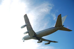 Airplane. Big airplane in the blue sky Stock Photos