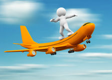Airplane. 3d people - human character standing over airplane flying. 3d render illustration Royalty Free Stock Photos