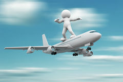 Airplane. 3d people - human character standing over airplane flying . 3d render illustration Stock Photos