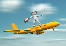 Airplane. 3d people - human character standing over airplane flying. 3d render illustration Stock Photos