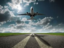 Airplane. It is a takeoff image of an airplane Stock Images