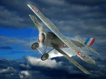 Airplane. The fighter airplane of times of the World War I. 3D image Stock Photos