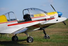 Airplane. Zlin 43 small propeller engine, side view Royalty Free Stock Image