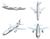 Airplane. Four different positions of airplane. Isolated on white Royalty Free Stock Photos