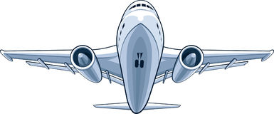 Airplane. A vector image of a front view from a airplane. Looks neat and tidy, this vector is very good for card, brochure, invitation, or other application that royalty free illustration