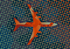 Airplane. Commercial Airplane Illustration of Interlocking Geometric Shapes Stock Photo