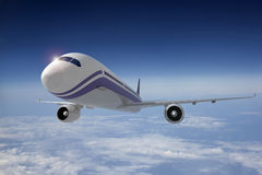 Airplane. Commercial airplane in flight. 3D image vector illustration