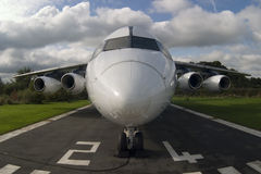 Airplane. Fisheye image of an airplane on runway Royalty Free Stock Image