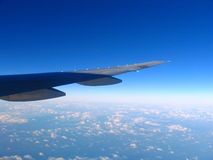 Airplane. Fly Above The Cloud Stock Photo