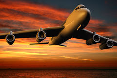 Airplane. Over the ocean and sunset clouds - 3d render vector illustration