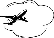 Airplane. Silhouette big airplane, black and white illustration royalty free illustration