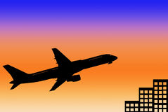 Airplane. The airplane with a the sunsets background stock illustration