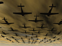 Airplane. Planes. A squadron of military planes in the drama terrible sky Royalty Free Stock Photo