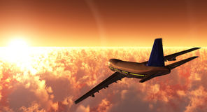 Airplane. Scene of the plane in flight, executed in 3 D Royalty Free Stock Photography