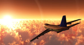 Airplane. Scene of the plane in flight, executed in 3 D Stock Photography