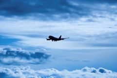 Airplane. Preparing to land Stock Images