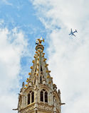 Airplane abobe Grand Place in Brussels Royalty Free Stock Image