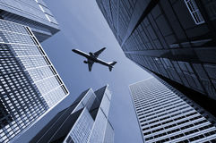 Airplane above city of Chicago. Royalty Free Stock Image