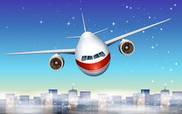 An airplane above the city stock illustration