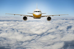 Airplane above cloud and sky. Airplane fly above nice sky stock photos