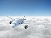 Airplane above clouds Stock Photography