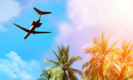 Airplane above the clouds Royalty Free Stock Images
