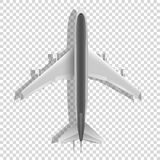 Airplane above icons. Passenger plane  on transparent background. Vector Royalty Free Stock Photography