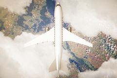 Airplane above landscape. Top view of airplane and clouds above landscape. 3D Rendering Stock Photos