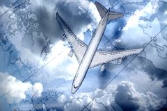Airplane above the map Stock Photos