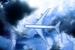 Airplane above the map. In blue royalty free illustration