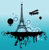 Airplane above Paris. Airplane and air-balloon above Paris. Retro.Vector illustration Stock Images