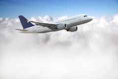 Airplane above sky Royalty Free Stock Photography