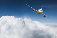 Airplane above sky. With cloud stock photography
