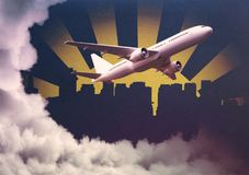 Airplane on abstract background. Aiplane on abstract cloudy city background. Travel and vacation concept. 3D Rendering Royalty Free Stock Images