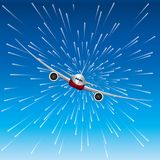 Airplane on an abstract background. Background is blue Royalty Free Stock Image